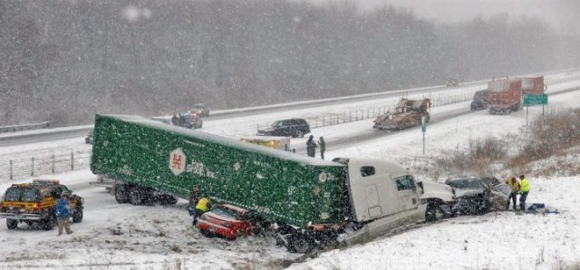 Typical scene: American semi on a Canadian highway . . . [Image submitted]