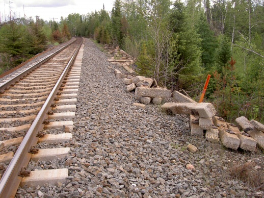 An operational railway discards ties that deteriorate