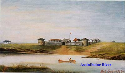 Upper Fort Garry, painted by Lionel Macdonald Stephenson in 1869.  View looking north to the South Gate.
