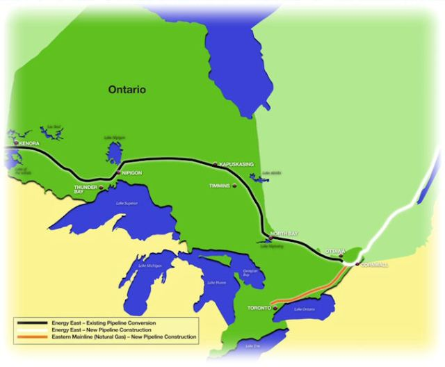 The black line represents come 1900 km of converted pipeline.  Energy East map.