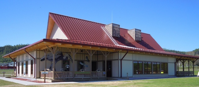 The Red Rock Marina Interpretive Centre is hosting travelling exhibits in its halls.  Picture a facility like this next to the historic headframe.  Red Rock Marina photo.