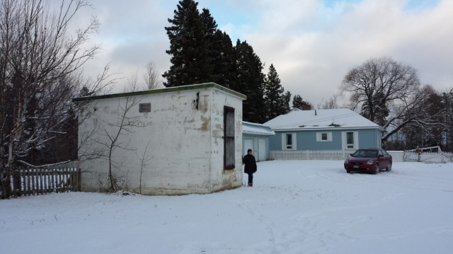 The entrance to the underground reservoir at MacLeod Townsite, next to the Pile residence. Photo E.J. Lavoie.