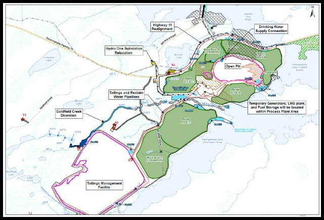 Map of the proposed open pit development in Geraldton. Image from Greenstone Gold Mines public document.