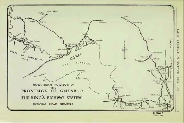 View of the two broken links in Ontario's highway system in 1939. Source: Annual Report of the Department of Highways, Ontario, ending March 31st, 1940.