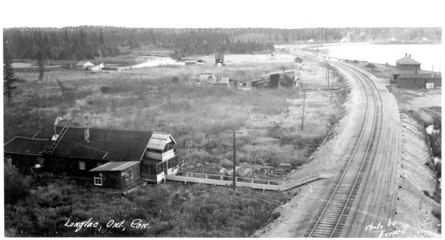 View looking east towards present-day Longlac about 1930. The Canadian National Railway crosses the Kenogami River at the north end of Long Lake. Highway 11 would not be completed for more than a decade. Photo courtesy of Greenstone Historical Society.