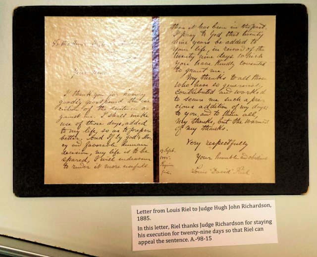 Riel's letter to the judge who sentenced him to hang.
