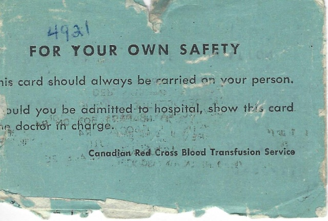 "Back: ""Show this card to doctor in charge."" Well, I would have, if I were bleeding."