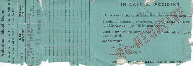 "Interior: ""BLOOD TESTED 26.4.67"" And many times since, but this is the only card I ever got. I'll miss it."