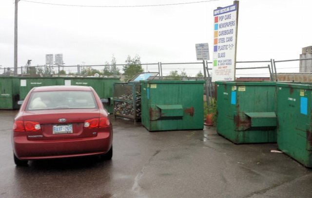 The recycling containers here are lined up around a half-hectare lot.  It's never a busy place.