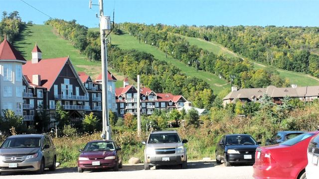 Ski runs overlook Blue Mountain Resort, the third-busiest ski resort in Canada.